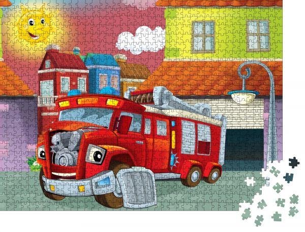 """Puzzle-Motiv """"Cartoon-Mechanikerwerkstatt - Reparatur von Feuerwehrfahrzeugen - Illustration für die Kinder"""" - Puzzle-Teile zu 1000 Teile Puzzle"""