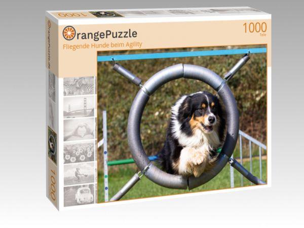 """Puzzle Motiv """"Fliegende Hunde beim Agility"""" - Puzzle-Schachtel zu 1000 Teile Puzzle"""