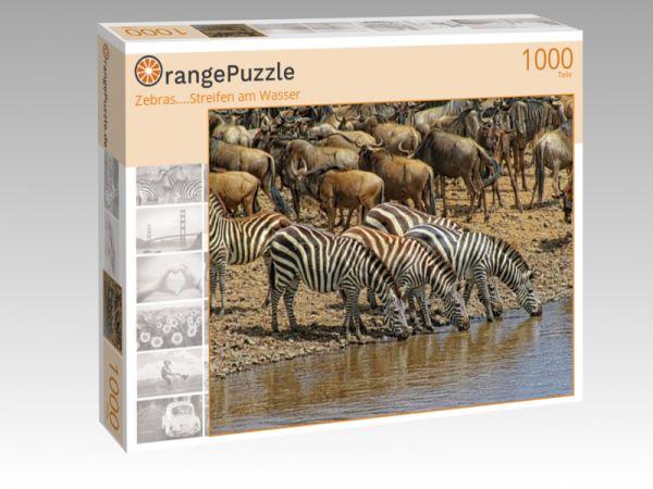 """Puzzle Motiv """"Zebras....Streifen am Wasser"""" - Puzzle-Schachtel zu 1000 Teile Puzzle"""