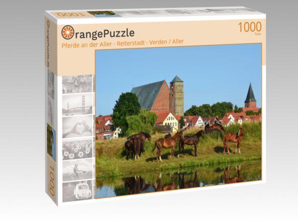"""Puzzle Motiv """"Pferde an der Aller - Reiterstadt - Verden / Aller"""" - Puzzle-Schachtel zu 1000 Teile Puzzle"""