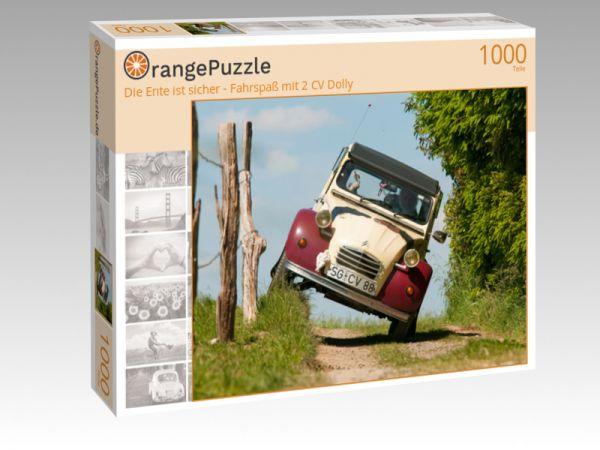 """Puzzle Motiv """"Die Ente ist sicher - Fahrspaß mit 2 CV Dolly"""" - Puzzle-Schachtel zu 1000 Teile Puzzle"""
