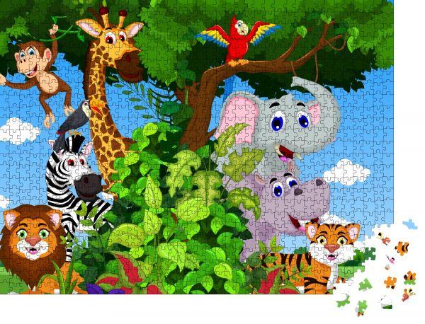 """Puzzle-Motiv """"lustiger Tier-Cartoon mit Waldhintergrund"""" - Puzzle-Teile zu 1000 Teile Puzzle"""