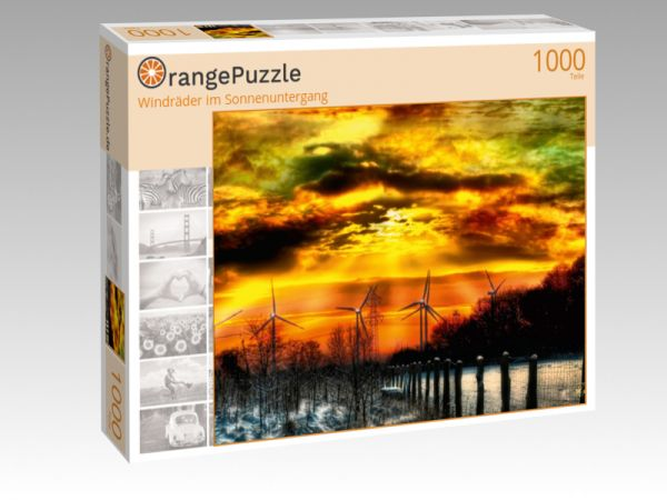 "Puzzle Motiv ""Windräder im Sonnenuntergang"" - Puzzle-Schachtel zu 1000 Teile Puzzle"