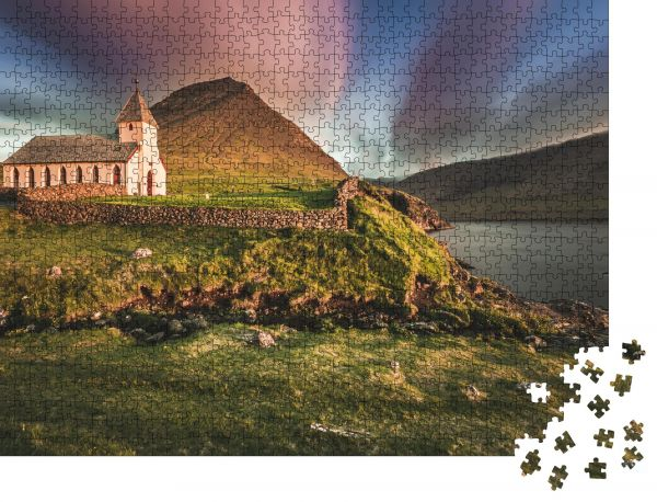 "Puzzle-Motiv ""Dorf Vidareidi, Insel Vidoy, Färöer Inseln, Dänemark"" - Puzzle-Schachtel zu 1000 Teile Puzzle"