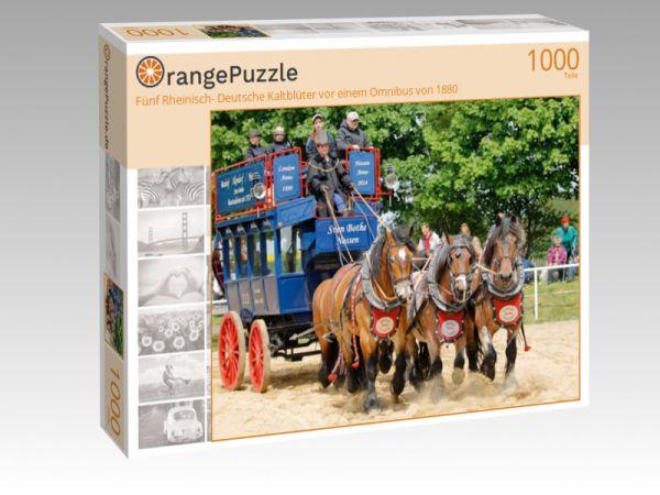 """Puzzle Motiv """"Fünf Rheinisch- Deutsche Kaltblüter vor einem Omnibus von 1880"""" - Puzzle-Schachtel zu 1000 Teile Puzzle"""