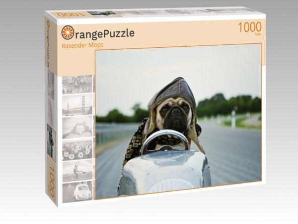 """Puzzle Motiv """"Rasender Mops"""" - Puzzle-Schachtel zu 1000 Teile Puzzle"""