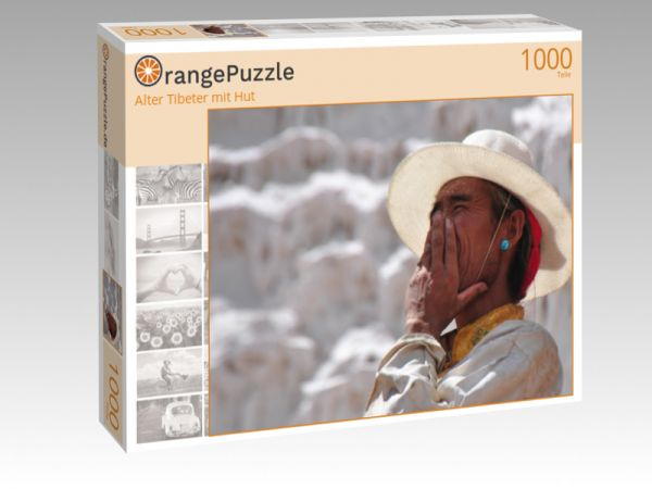 """Puzzle Motiv """"Alter Tibeter mit Hut"""" - Puzzle-Schachtel zu 1000 Teile Puzzle"""