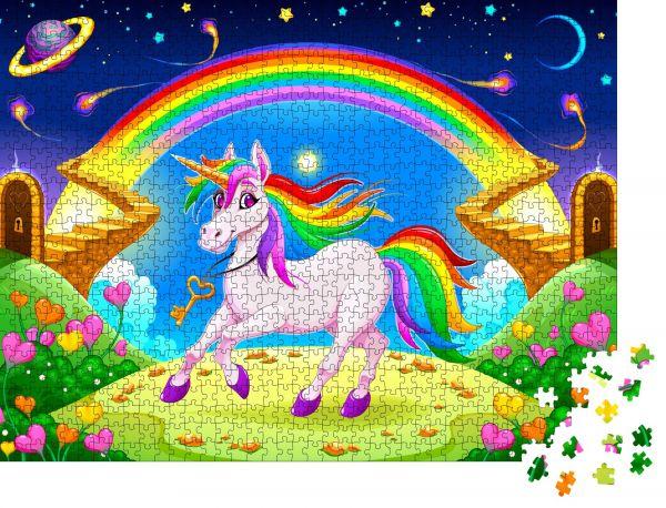 """Puzzle-Motiv """"Regenbogeneinhorn in einer Fantasielandschaft mit goldener Treppe. Vektorielle Darstellung"""" - Puzzle-Teile zu 1000 Teile Puzzle"""