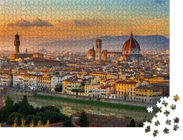 """Puzzle-Motiv """"Sonnenuntergang mit Blick auf Florenz und den Dom. Italien"""" - Puzzle-Schachtel zu 1000 Teile Puzzle"""