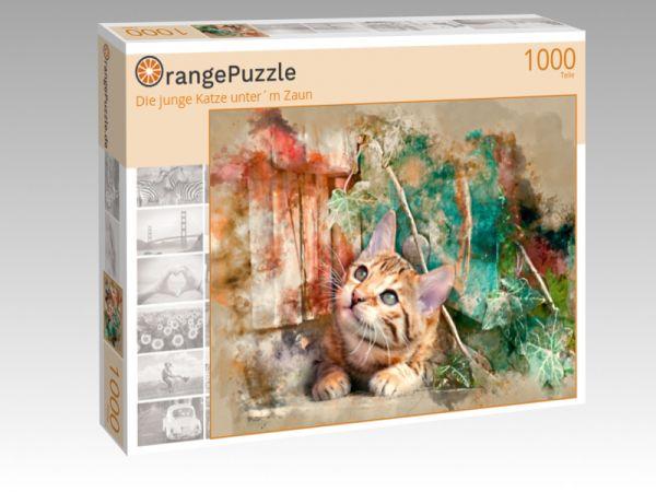 """Puzzle Motiv """"Die junge Katze unter´m Zaun"""" - Puzzle-Schachtel zu 1000 Teile Puzzle"""