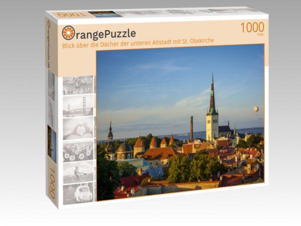 """Puzzle Motiv """"Blick über die Dächer der unteren Altstadt mit St. Olaikirche"""" - Puzzle-Schachtel zu 1000 Teile Puzzle"""