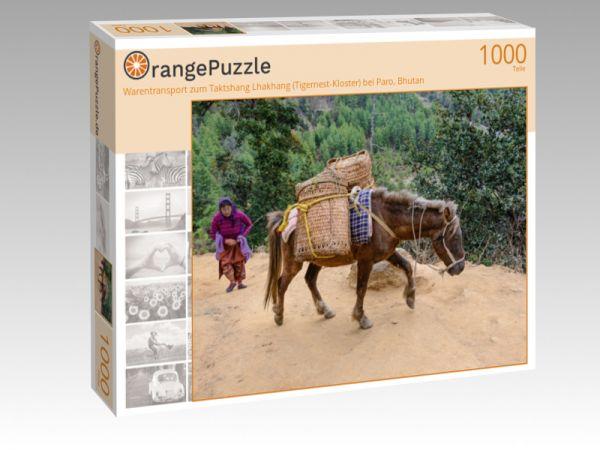 "Puzzle Motiv ""Warentransport zum Taktshang Lhakhang (Tigernest-Kloster) bei Paro, Bhutan"" - Puzzle-Schachtel zu 1000 Teile Puzzle"