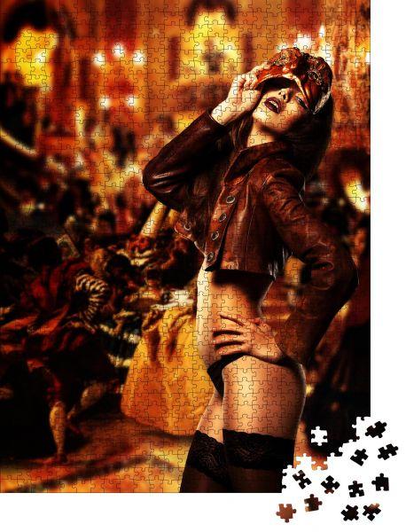 """Puzzle-Motiv """"hübsche erotische sexy Frau in Maske auf Maskenball"""" - Puzzle-Schachtel zu 1000 Teile Puzzle"""