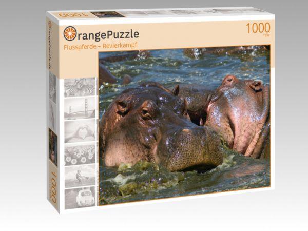 """Puzzle Motiv """"Flusspferde – Revierkampf"""" - Puzzle-Schachtel zu 1000 Teile Puzzle"""