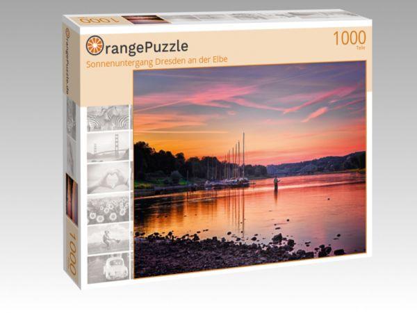 "Puzzle Motiv ""Sonnenuntergang Dresden an der Elbe"" - Puzzle-Schachtel zu 1000 Teile Puzzle"