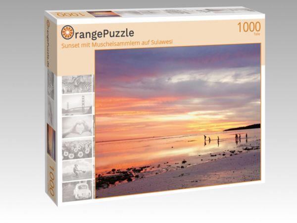 """Puzzle Motiv """"Sunset mit Muschelsammlern auf Sulawesi"""" - Puzzle-Schachtel zu 1000 Teile Puzzle"""