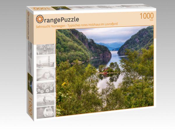 """Puzzle Motiv """"Sehnsucht Norwegen - Typisches rotes Holzhaus im Lovrafjord"""" - Puzzle-Schachtel zu 1000 Teile Puzzle"""