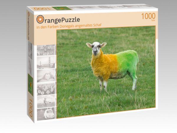 """Puzzle Motiv """"in den Farben Donegals angemaltes Schaf"""" - Puzzle-Schachtel zu 1000 Teile Puzzle"""