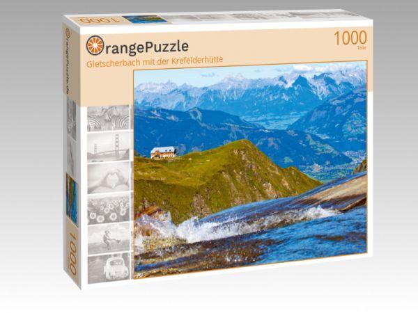 """Puzzle Motiv """"Gletscherbach mit der Krefelderhütte"""" - Puzzle-Schachtel zu 1000 Teile Puzzle"""
