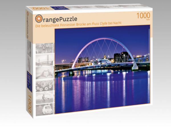 """Puzzle Motiv """"Die beleuchtete Finnieston Brücke am Fluss Clyde bei Nacht"""" - Puzzle-Schachtel zu 1000 Teile Puzzle"""