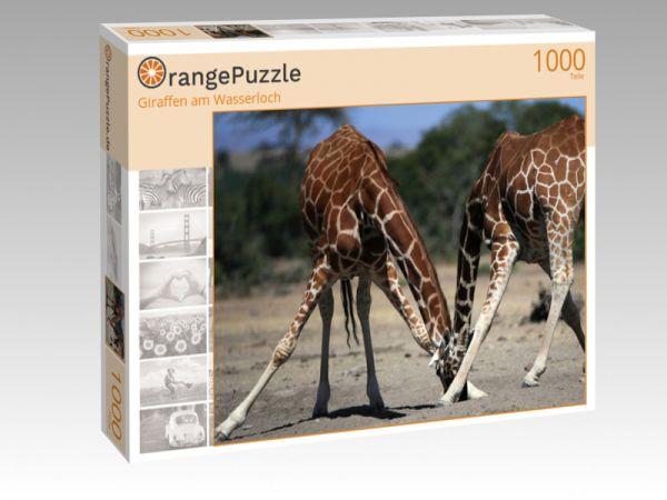 """Puzzle Motiv """"Giraffen am Wasserloch"""" - Puzzle-Schachtel zu 1000 Teile Puzzle"""