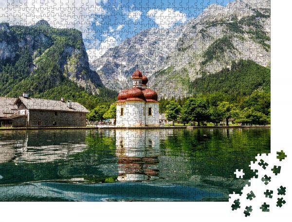 "Puzzle-Motiv ""Königssee, Kirche St. Bartholomäus, Blick vom See aus"" - Puzzle-Teile zu 1000 Teile Puzzle"