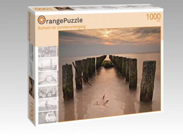 "Puzzle Motiv ""Buhnen im Sonnenuntergang"" - Puzzle-Schachtel zu 1000 Teile Puzzle"
