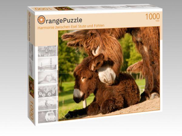 """Puzzle Motiv """"Harmonie zwischen Esel Stute und Fohlen"""" - Puzzle-Schachtel zu 1000 Teile Puzzle"""