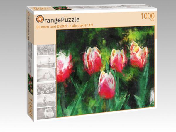 """Puzzle Motiv """"Blumen und Blätter in abstrakter Art"""" - Puzzle-Schachtel zu 1000 Teile Puzzle"""