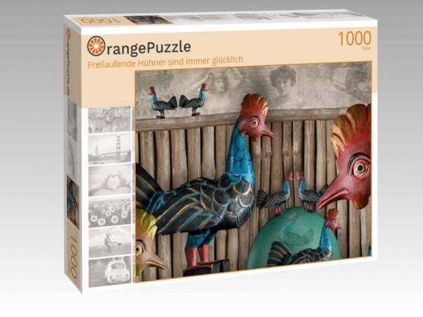 """Puzzle Motiv """"Freilaufende Hühner sind immer glücklich"""" - Puzzle-Schachtel zu 1000 Teile Puzzle"""