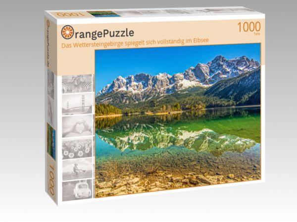 """Puzzle Motiv """"Das Wettersteingebirge spiegelt sich vollständig im Eibsee"""" - Puzzle-Schachtel zu 1000 Teile Puzzle"""