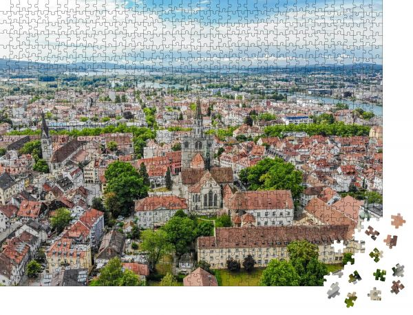 """Puzzle-Motiv """"Luftaufnahme der Hafenstadt Konstanz, Münster-Kirche, Bodensee - Bodensee"""" - Puzzle-Schachtel zu 1000 Teile Puzzle"""