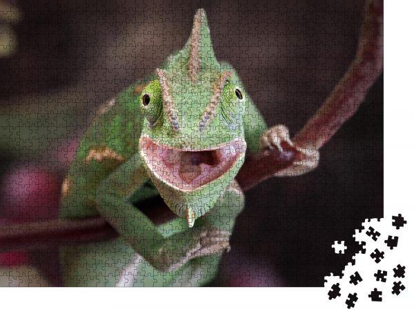 """Puzzle-Motiv """"Grüne Chamäleonjagd. Porträt eines exotischen Tieres. Makro"""" - Puzzle-Teile zu 1000 Teile Puzzle"""