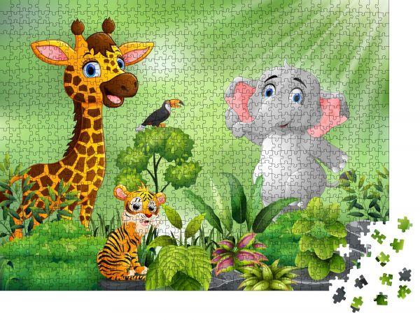 "Puzzle-Motiv ""Naturszene mit Wildtier-Cartoon"" - Puzzle-Teile zu 1000 Teile Puzzle"