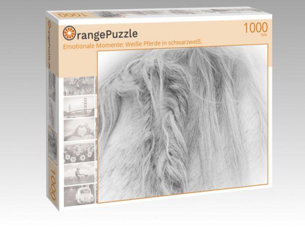 """Puzzle Motiv """"Emotionale Momente: Weiße Pferde in schwarzweiß."""" - Puzzle-Schachtel zu 1000 Teile Puzzle"""