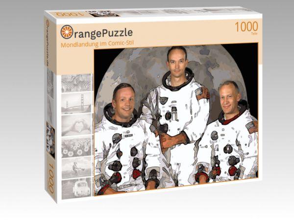 """Puzzle Motiv """"Mondlandung im Comic-Stil"""" - Puzzle-Schachtel zu 1000 Teile Puzzle"""