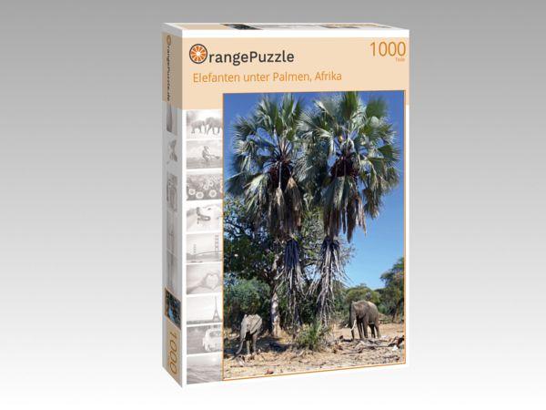"""Puzzle Motiv """"Elefanten unter Palmen, Afrika"""" - Puzzle-Schachtel zu 1000 Teile Puzzle"""