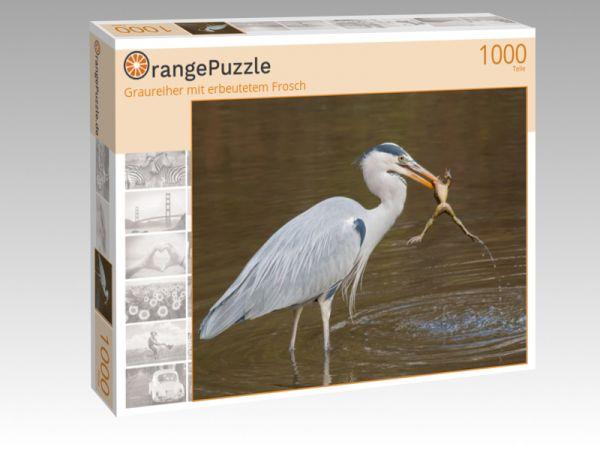 """Puzzle Motiv """"Graureiher mit erbeutetem Frosch"""" - Puzzle-Schachtel zu 1000 Teile Puzzle"""