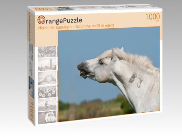 """Puzzle Motiv """"Pferde der Camargue – Schimmel im Rhônedelta"""" - Puzzle-Schachtel zu 1000 Teile Puzzle"""