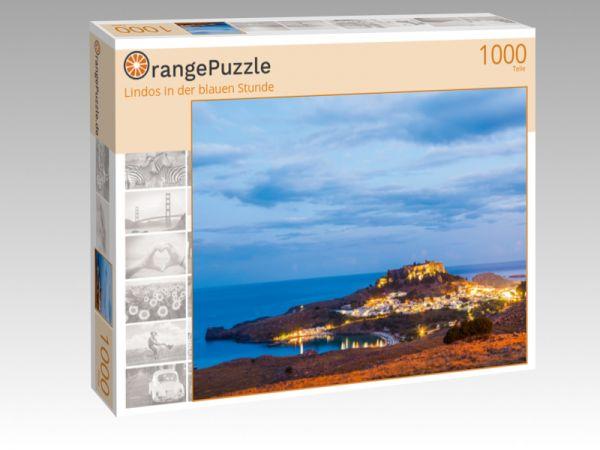 """Puzzle Motiv """"Lindos in der blauen Stunde"""" - Puzzle-Schachtel zu 1000 Teile Puzzle"""