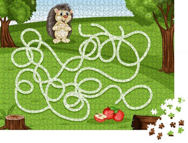 """Puzzle-Motiv """"Labyrinthspiel Hilf dem kleinen Igel, die Äpfel reich zu machen"""" - Puzzle-Teile zu 1000 Teile Puzzle"""
