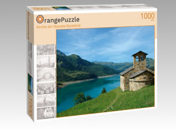 "Puzzle Motiv ""Kirche am Stausee Roselend"" - Puzzle-Schachtel zu 1000 Teile Puzzle"