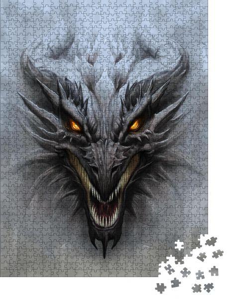 """Puzzle-Motiv """"Drachenkopf auf dem grauen Steinhintergrund. Digitale Malerei"""" - Puzzle-Teile zu 1000 Teile Puzzle"""