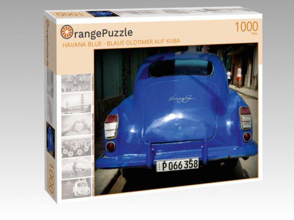 "Puzzle Motiv """" HAVANA BLUE - BLAUE OLDTIMER AUF KUBA"""" - Puzzle-Schachtel zu 1000 Teile Puzzle"