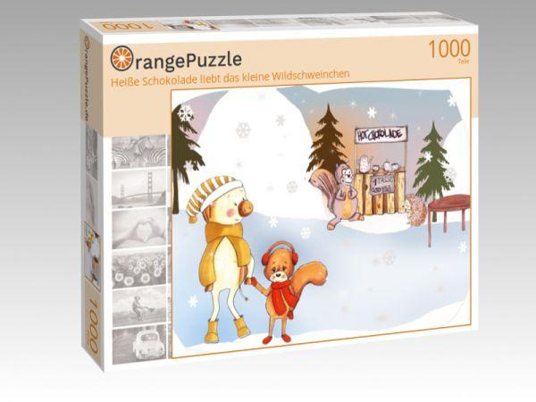 """Puzzle Motiv """"Heiße Schokolade liebt das kleine Wildschweinchen"""" - Puzzle-Schachtel zu 1000 Teile Puzzle"""