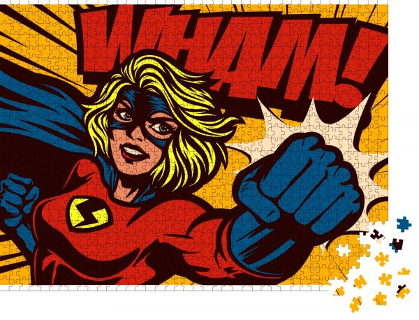 """Puzzle-Motiv """"Pop Art Comic Stil Superheldin Punching mit weiblichen Superhelden Kostüm Poster Design Wanddekoration Illustration"""" - Puzzle-Teile zu 1000 Teile Puzzle"""
