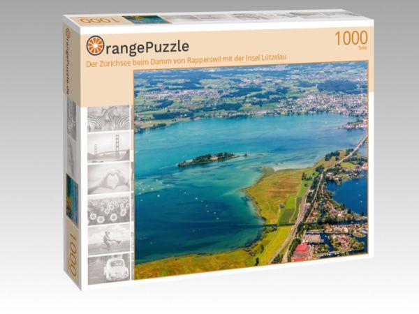 """Puzzle Motiv """"Der Zürichsee beim Damm von Rapperswil mit der Insel Lützelau"""" - Puzzle-Schachtel zu 1000 Teile Puzzle"""