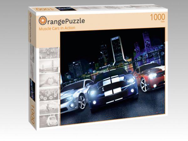 """Puzzle Motiv """"Muscle Cars in Action"""" - Puzzle-Schachtel zu 1000 Teile Puzzle"""