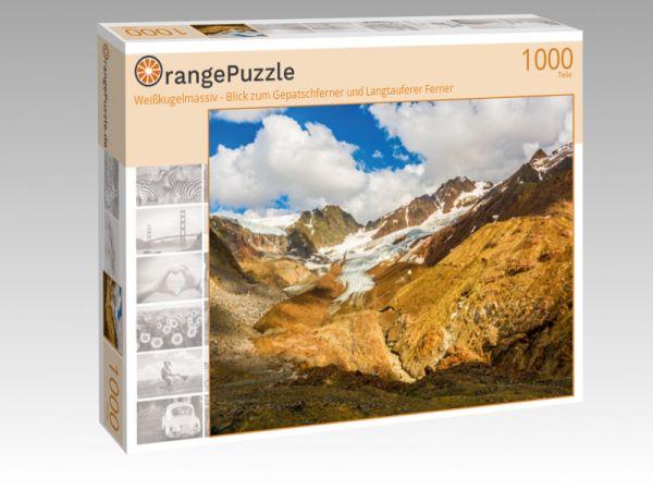 """Puzzle Motiv """"Weißkugelmassiv - Blick zum Gepatschferner und Langtauferer Ferner"""" - Puzzle-Schachtel zu 1000 Teile Puzzle"""