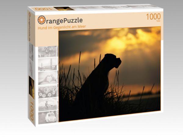 """Puzzle Motiv """"Hund im Gegenlicht am Meer"""" - Puzzle-Schachtel zu 1000 Teile Puzzle"""